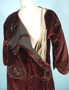 c. 1920's Brown Velvet Embroidered Afternoon Dress with tiny beads, bodice construction