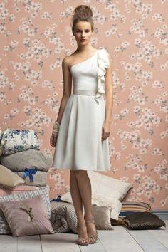 A-Line One-Shoulder Ruffles knee-length Bridesmaid Dress