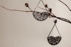 Sterling Silver Filigree Earrings Half Moon Handmade by kaneh, €84.50