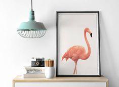 Pink Flamingo Print, Nursery Wall Art, Peekaboo Animal Print, Pink Flamingo, Beautiful Home Decor, Modern Art Print, Photography