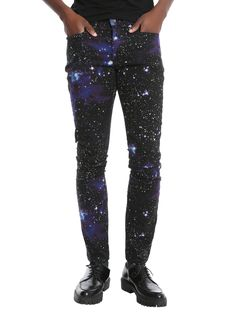 """<div>Be a total rock star in these galaxy print skinny jeans from XXX RUDE.With your favorite low rise and slim fit throughout the body and leg, we see these becoming your favorite pair as soon as you put them on. 5-pockets and button and zipper fly. You'll be out of this world hot!</div><div><ul><li style=""""list-style-position: inside !important; list-style-type: disc !important"""">70% cotton; 28% polyester; 2% spandex</li&..."""
