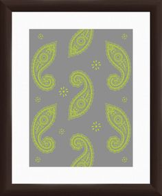 Paisley Giclée Framed Graphic Art in Green