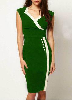 Shiny Women Edging Button Decoration Green Straight Dress