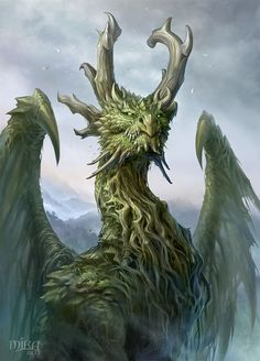 Forest Dragon by sandara green monster beast creature animal | Create your own roleplaying game material w/ RPG Bard: www.rpgbard.com | Writing inspiration for Dungeons and Dragons DND D&D Pathfinder PFRPG Warhammer 40k Star Wars Shadowrun Call of Cthulhu Lord of the Rings LoTR + d20 fantasy science fiction scifi horror design | Not Trusty Sword art: click artwork for source: