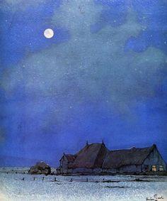 Anton Pieck (Dutch illustrator), farmhouse by night (watercolour?)
