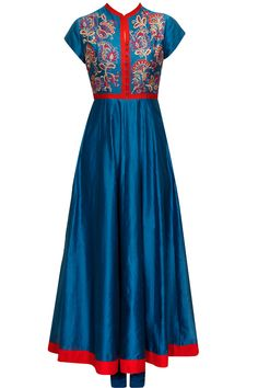 Indigo and red chintz embroidered kurta set available only at Pernia's Pop-Up Shop.