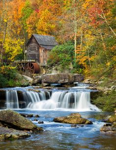 """https://flic.kr/p/qgnNBD   Glade Creek Grist Mill   I've pretty much exhausted my favorite eagle photos so now I'm back to West Virginia.  Here's another angle of the Glade Creek Grist Mill and falls at close to peak color.    As a reminder, this and many other images are available for purchase as canvas, prints, greeting cards, poster, phone cases, etc at  """"Fine Art America""""  :)"""