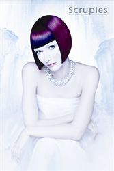 graduated bob in vibrant plum, and cobalt blue color...glacial collection by charlie price for scruples
