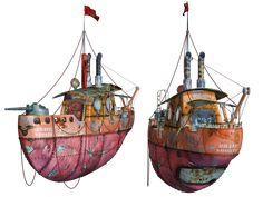Steampunk Flying Tug Boat 03 PNG Stock by Roys-Art.deviantart.com on @DeviantArt