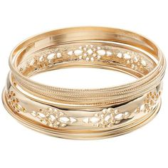 Textured & Openwork Bangle Bracelet Set ($15) ❤ liked on Polyvore featuring jewelry, bracelets, gold, nickel free jewelry, bangle jewelry, hinged bangle, bracelets bangle and bangle bracelet