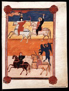 Shop Four Horsemen of the Apocalypse A. 1047 Poster created by madestudio. Medieval Manuscript, Medieval Art, Renaissance Art, Illuminated Manuscript, European History, Art History, Figueras, Illustrations Vintage, Horsemen Of The Apocalypse