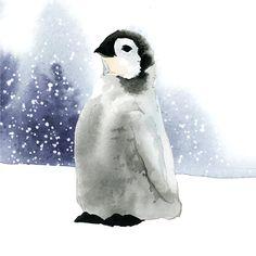 Penguin Watercolor, Penguin Drawing, Baby Drawing, Watercolor Animals, Watercolor Paintings, Watercolor Ideas, Watercolours, Penguin Illustration, Winter Illustration