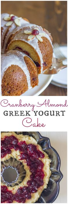 Healthier Cranberry Almond Cake made with Greek yogurt and coconut oil!