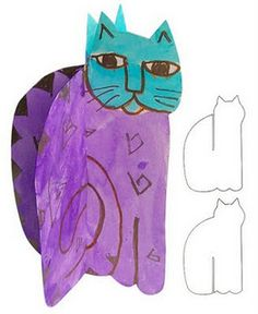 A template to make 3D Laurel Burch cats.