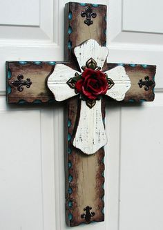 Rustic Cross with Red Rose.