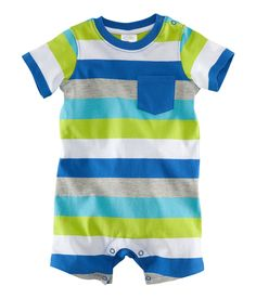 Bodysuit in soft jersey with short sleeves and legs (blue with a print motif and multi/striped with a breast pocket), and press-studs on one shoulder and at the crotch.  Available sizes: 4M-24M.  100% cotton.  NRs 1,100.