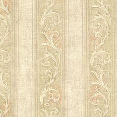 Gold Farnworth Scroll Stripe  Wallpaper