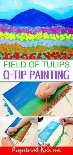 This field of tulips q-tip painting is such a fun art project for kids to create! Painting with q-tips is a wonderful technique for kids to explore and makes the perfect tool for creating beautiful fields of tulips. Kids will love creating this bright and colorful art project! #tulips #artprojectsforkids #paintingideas #flowerart #projectswithkids