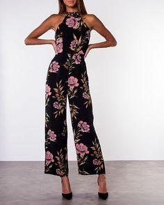 Kady High Neck Sleeveless Jumpsuit Black/Flower