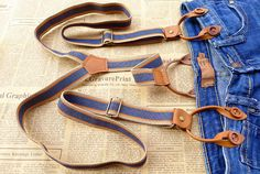 Free Shipping Vintage Genuine Leather Suspenders With Wood Buttons Fashion Braces For Men & Women-in Leather Clothing from Apparel & Accessories on Aliexpress.com