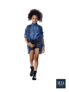 M2A Jeans | Fall Winter 2015 | Kids Collection | Outono Inverno 2015 | Coleção Infantil | shorts jeans infantil feminino; camisa jeans; look infantil; denim kids.