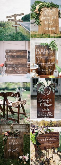 great wooden background wedding sign ideas
