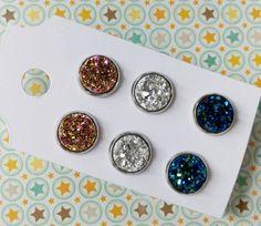 Nickel free druzy earrings stainless steel earrings by DiglotEtc