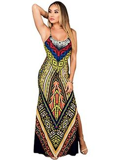 ce70ad4173f Women s Tribal Print Spaghetti Strap Backless Side Slit Bodycon Maxi Dress  at Amazon Women s Clothing store  Maxi RobesSummer DressesSummer ...