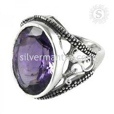 Artisan Work!! Amethyst 925 Sterling Silver Ring
