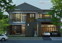 Desain rumah pojok tropis modern, unik dengan aksen material kayu pada finishing fasade rumah, lahan berukuran 15 X 33 M2 dengan luas rumah 2 lantai +/- 600 M2.