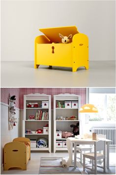 The TROGEN children's bench provides seating on top and storage under the lid for toys, cushions or blankets.