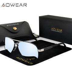 e661c76b750 AOWEAR Brand HD Aviation Sunglasses Men Polarized Mirror Polit Sun glasses  for Man Women Driving Goggles