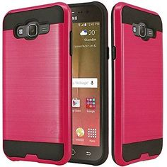 Samsung Galaxy J7 Dual Layer Cell Phone Accessories Hybrid Case Rose Red