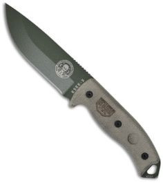 "ESEE-5 Survival Fixed Blade Knife w/ Sheath (5.25"" Green Plain) ESEE-5P OD - Blade HQ"