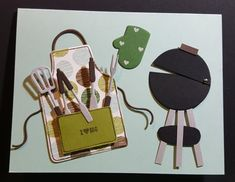 SU Apron of Love BBQ This is such a fun man card using Coffee Break dsp.