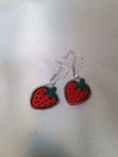 Strawberry Earrings on Etsy, $8.00