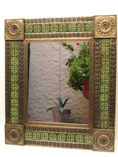 :D❤️PUNCHED TIN MIRROR mixed talavera tile mexican folk art mirrors wall decoration