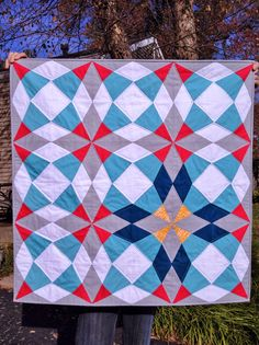A Blue Sky Kind of Life: Cut Glass baby quilt: A finish! from Vintage Quilt Revival