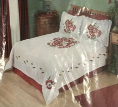 Herrschners Poppies Bed Quilt Queen Stamped Embroidery 100 X 100 New