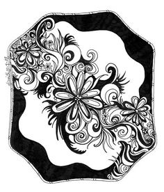 Flowers, Abstract Doodle, Pen and Ink, Black and White by Danielle J. Ink Doodles, Doodles Zentangles, Zentangle Patterns, Abstract Drawings, Doodle Drawings, Zen Doodle, Doodle Art, Doodle Designs, Art Designs