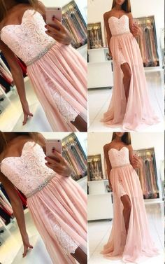 Pink Sweetheart Prom Dress with Lace,Long prom dress, simple party dress,Formal #prom #promdress #cheapdress #sexydress #fashiondress #homecomingdress #formaldress #partydress