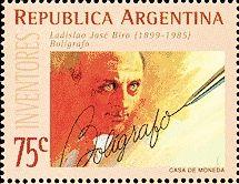 László József Bíró / Ladislao José Biro:  http://d-b-z.de/web/2013/06/10/kugelschreiber-laszlo-biro-briefmarken/
