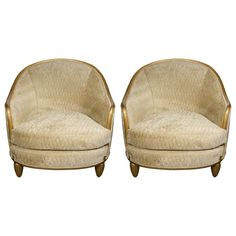 Rare And Superb Pair Of Art Deco Gilt Wood Club Chairs By Sue Et Mare