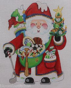 Strictly Christmas Sports Santa Claus Hand Painted Needlepoint Canvas | eBay - $53