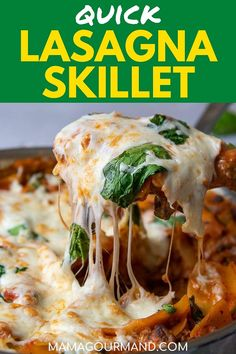 Easy Skillet Lasagna takes one pot and 30 minutes to make a flavorful weeknight dinner with Italian sausage, spinach, creamy ricotta, and gooey cheese. #easy #ricotta #spinach #healthy #recipe #skilletlasagna #glutenfree