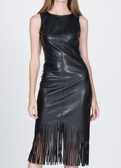 FAUX LEATHER FRINGED DRESS FALL SHREDDED FRINGE MIDI BODYCON SLEEVELESS S M  L #Boutique #StretchBodycon #AnyOccasion