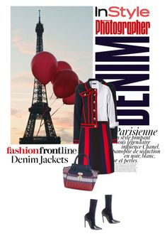 """Denim Trend: Jean Jackets"" by lacas ❤ liked on Polyvore featuring Magdalena, Pottery Barn, Alima, Love Moschino, Banana Republic, Balenciaga, Gucci and jeanjackets"