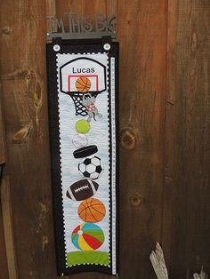 """""""Hoop It Up"""" pattern and kits available for growth charts by Pastime Pieces. Check your child's height against a pile up of sports. Personalize for that added touch. Size : x Boys Growth Chart, Growth Charts, Your Child, Quilt Patterns, Pattern Design, Applique, Quilts, Hoop, Kids"""