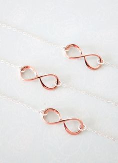 Infinity Bracelet - Sterling Silver chain, Rose Gold plated Infinity, forever love, best friend, friendship, bridesmaid, daughter, mother, www.colormemissy.com  A...
