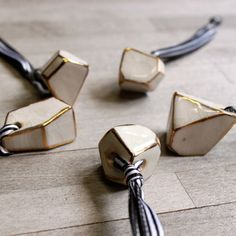 Tan Polymer clay painted edges with gold paint - turn into a necklace